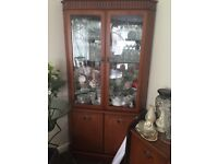 Elegant Teak Glass Display Cabinet Storage Unit