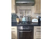 integrated electric oven with gas hob and extractor
