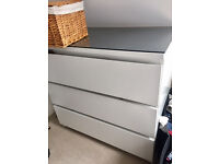 set of 2 IKEA MALM chests of drawers with glass tops + a small desk