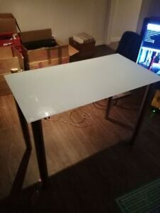 Ikea White Glass Top Table with Adjustable Stainless Steel Legs
