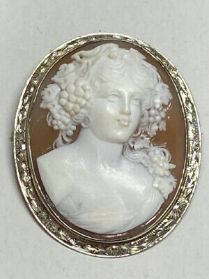 14k White Gold Carved CAMEO Dionysus Facing Front Goddess of Wine Pin Pendant