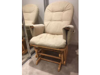 Glider Nursing Rocking Chair–BeechWood & Cream Washable Covers-(Habebe?)
