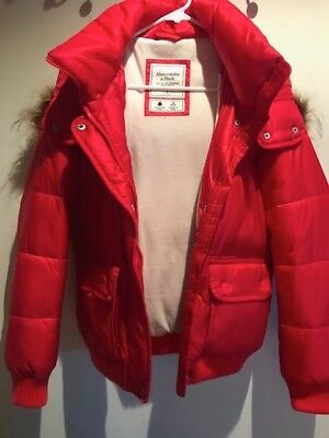 ABERCROMBIE & FITCH WOMENS RED PUFFER JACKET COAT SIZE S
