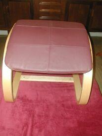 burgundy and bent wood footstool / armchair leg rest