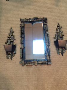 3-Piece Decorative Mirror and Matching Wall Sconces Set