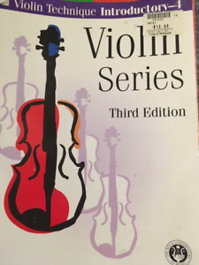 3 Violin music books; 1 Conservatory Theory book.