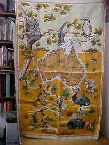 Vintage Retro Souvenir Linen Wonderland Australia Wildlife & Map Tea Towel