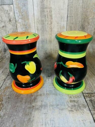 """Salt Pepper Shakers Vegetable Painted Ceramic New 5"""" Free Shipping"""