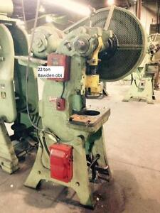 "22 ton Bawden OBI punch press, stroke 2, sh 6-1/4"", ram adjustment 2"", bed area 20"" x 10"", spm 120, electrics 550/3/60"