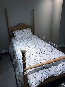 Solid wood bed frame (twin) - boxspring&mattress incl. for free