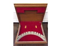 Retro Teak? WOODEN CUTLERY Box Canteen FLEXFIT Red Felt Lining & Black Legs