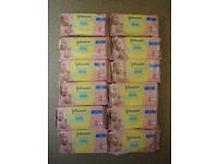 Brand new: 12 individual packs of Johnson's Extra Sensitive Baby Wipes, great for sensitive skin