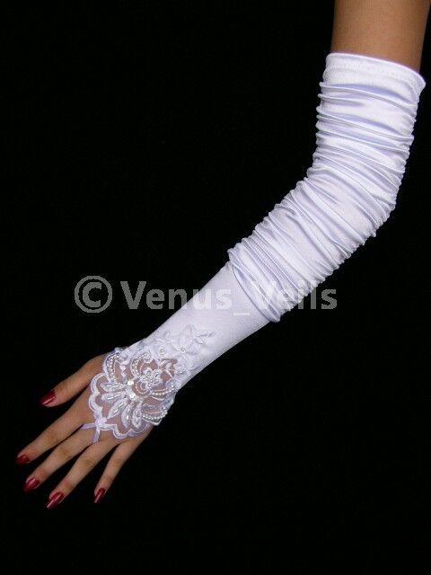 """18"""" White Bridal Wedding Pearlsl Beaded Fingerless Gloves"""