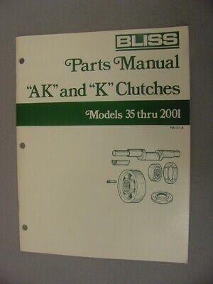 Bliss Ak K Clutch Parts Manual 1991