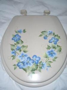 hp TOILET SEAT hand painted BLUE Floral Violets BONE**