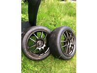 Pair of Rota Torque Gunmetal Alloy Wheels 17x7.5 ET48 PCD 5x114.5 with Michelin slicks like new