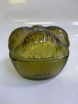 Vintage Lalique Myrable Amberina Powder / Dresser Box in Olive Green