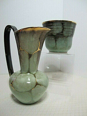2 Pc Vintage MCM Carstens Tonnieshof West Germany Gold Drip Art Pottery 1960
