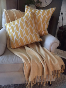 Decorative throw and pillows
