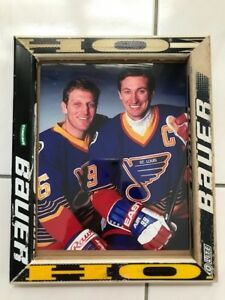 Old Hockey Stick Framed picture of Gretzky and Hull