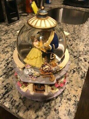 Rare Disney Beauty And The Beast music snow globe Rose Garden 1991 retired