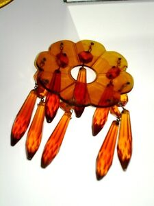 1940s AMBER GLASS Czechoslovakian ETCHED CANDLE HOLDERS LUSTRES Cambridge Kitchener Area image 6