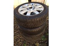 """4 wheels with winter tyres and 1 alloy (tyre bald) (Ford Fiesta 15"""") 185/55R15 86H"""