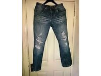 "Mens Jeans Faded Blue with distressed styling by Blue Inc Size 32"" Waist 31"" inside leg"