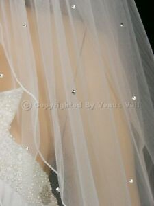 2T White Bridal Elbow Length Pencil Edge Scattered 40 Rhinestones Wedding Veil