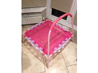 Childs Trampoline, pink, for indoor or outdoor use