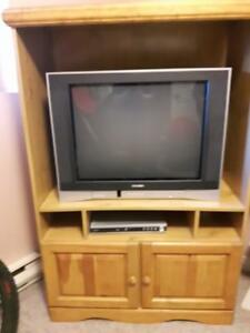 TV and wood cabinet