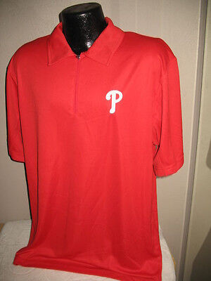 MLB Philadelphia Phillies Baseball Classic Coach's Golf Polo Shirt Mens Nwt  -