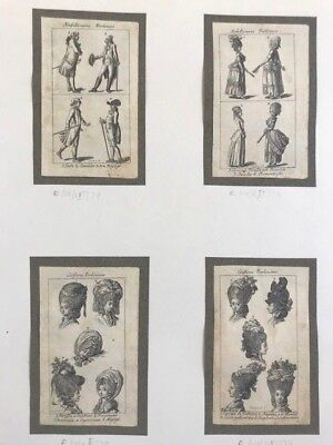 "Poland: Daniel Nikolaus Chodowiecki 4 etchings ""Coiffures and Fashion""1779"