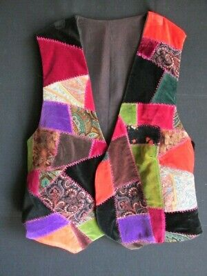 Waistcoat Womans size Medium Velvet Patchwork for sale  Shipping to Nigeria