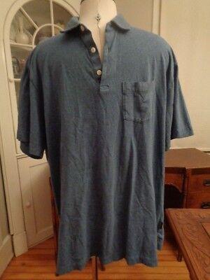 PATAGONIA blue denim knit 100% organic cotton polo shirt men's size XL