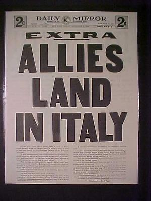 Vintage Newspaper Headline  World War 2 Allies Army Invasion Italy Battle Wwii