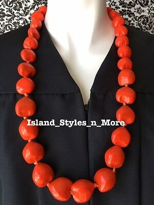 Hawaii Wedding Kukui Nut Lei Graduation Luau Hula Party Necklace SOLID ORANGE