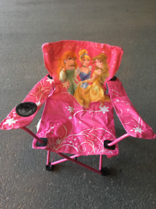 Two Camp folding chairs-Blue & Pink