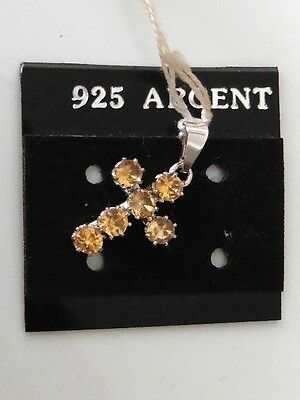 Superb cross Christian Silver Bezel Set Brilliant Vintage 70 New