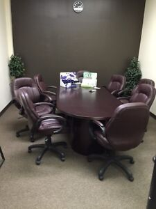 Board Room Table with 8 Leather chairs
