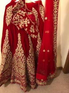 BRIDAL GHAGRA RED & GOLD COLOUR FULL SET PRICE DROPPED FOR SALE