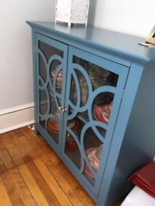 LIKE NEW-ANTIQUE BLUE ACCENT CABINET