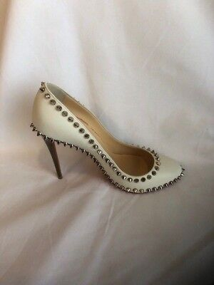 Christian Louboutin Spiked Leather Pump with Gold Heel (EUR 38.5)