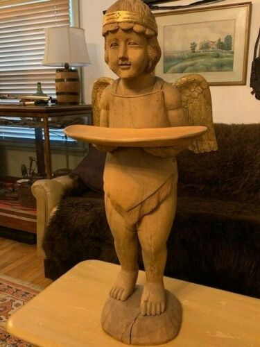 Antique Life-Size 19 C. Hand Carved Angel Wood Sculpture Architectural Decorator