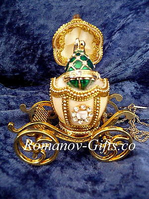 Russian Imperial Carriage and with an inner Emerald Green Egg Pendant Necklace for sale  Highlands