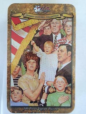 """500 PIECE JIGSAW PUZZLE NORMAN ROCKWELL COLLECTORS TIN """"Salute The Flag"""" New!!!"""