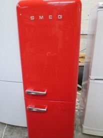 ***SMEG FRIDGE FREEZER FAB32/FULLSIZE/ GLOSSY RED/ /FROST FREE/FREE LOCAL DELIVERY/VERY CLEAN*
