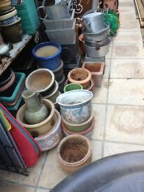 Plant pots, ceramic, terracotta, metal for the garden, medium size