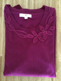 Brand New Ladies Burgundy Knitted Jumper - Size 28-30