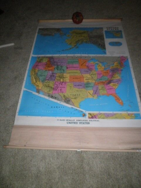 RAND MCNALLY PULL DOWNSIMPLIFIED POLITICALMAP AMERICA US HOMESCHOOL MARKABLE